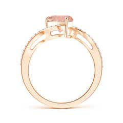 Toggle Pear-Shaped Morganite Bypass Ring with Diamond Accents