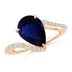 GIA Certified Pear-Shaped Sapphire Bypass Ring with Diamonds