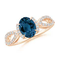 London Blue Topaz Split Shank Ring with Diamond Half Halo