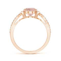 Toggle Morganite Split Shank Ring with Diamond Half Halo
