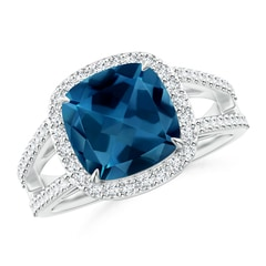 Cushion London Blue Topaz Split Shank Ring with Diamond Halo