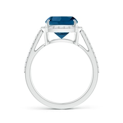 Toggle Cushion London Blue Topaz Split Shank Ring with Diamond Halo