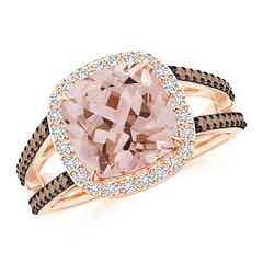 Cushion Morganite Split Shank Halo Ring with Coffee Diamonds
