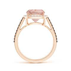 Toggle Cushion Morganite Split Shank Halo Ring with Coffee Diamonds