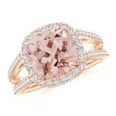 Split Shank Cushion Cut Morganite Ring with Diamond Halo