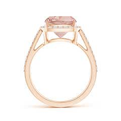 Toggle Cushion Morganite Split Shank Ring with Diamond Halo