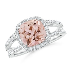 Cushion Morganite Split Shank Ring with Diamond Halo