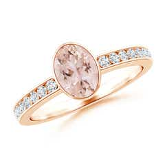 Bezel-Set Oval Morganite Solitaire Ring with Channel-Set Diamond
