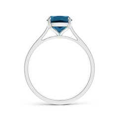 Toggle Prong-Set Cushion London Blue Topaz Solitaire Ring