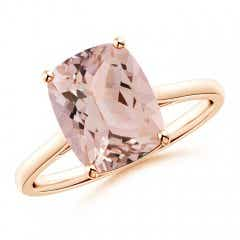 Prong-Set Cushion Morganite Solitaire Ring
