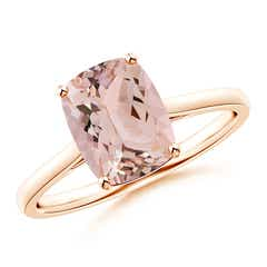 Tapered Shank Cushion Cut Morganite Solitaire Ring