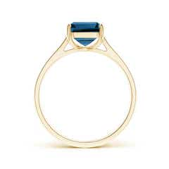 Toggle Emerald-Cut London Blue Topaz Cocktail Ring with Diamonds