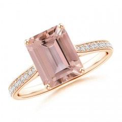 Emerald-Cut Morganite Cocktail Ring with Diamond Accents