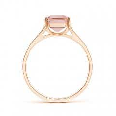 Toggle Emerald-Cut Morganite Cocktail Ring with Diamond Accents
