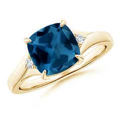 Split Shank Cushion London Blue Topaz Solitaire Ring
