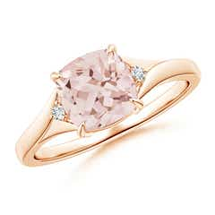 Split Shank Cushion Cut Morganite Solitaire Ring with Diamond Accents