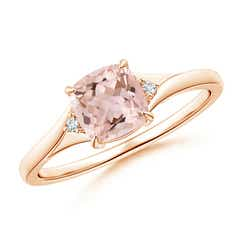 Split Shank Cushion Morganite Solitaire Ring