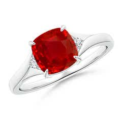 Split Shank GIA Certified Cushion Ruby Solitaire Ring