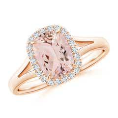 Claw-Set Cushion Morganite Halo Split Shank Ring