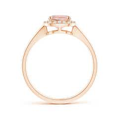 Toggle Claw-Set Cushion Morganite Halo Split Shank Ring