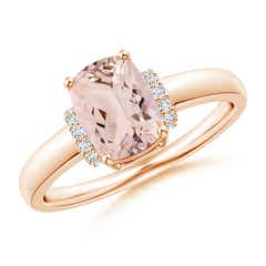 Cushion Morganite Ring with Diamond Collar