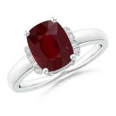 GIA Certified Cushion Ruby Ring with Diamond Collar