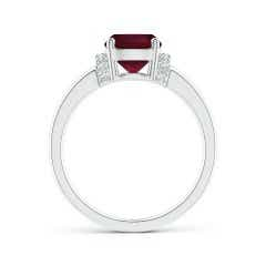 Toggle GIA Certified Cushion Ruby Ring with Diamond Collar