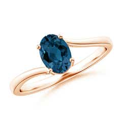 Prong Set Oval London Blue Topaz Solitaire Bypass Ring