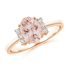 Tapered Shank Solitaire Oval Morganite Ring with Diamonds