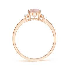 Toggle Tapered Shank Solitaire Oval Morganite Ring with Diamonds