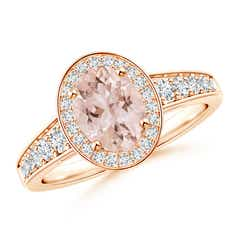 Oval Morganite and Diamond Halo Ring with Pave Accents