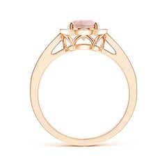 Toggle Oval Morganite and Diamond Halo Ring with Pave Accents
