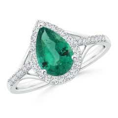 GIA Certified Pear-Shaped Emerald Ring with Diamond Halo