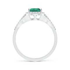 Toggle GIA Certified Pear-Shaped Emerald Ring with Diamond Halo
