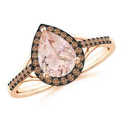 Pear-Shaped Morganite Ring with Coffee Diamond Halo