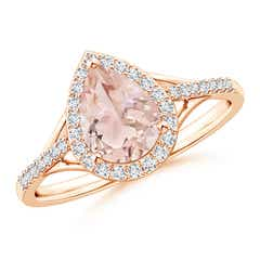 Pear-Shaped Morganite Ring with Diamond Halo