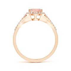Toggle Pear-Shaped Morganite Ring with Diamond Halo