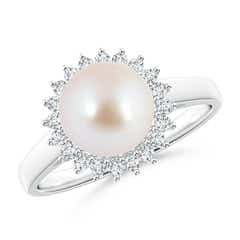 Angara Akoya Cultured Pearl and Diamond Collar Ring Pzafc