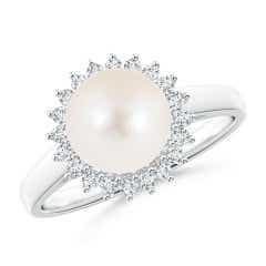 Freshwater Cultured Pearl Ring with Floral Halo