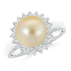 Golden South Sea Cultured Pearl and Diamond Floral Halo Ring