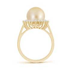 Toggle Golden South Sea Cultured Pearl Ring with Floral Halo