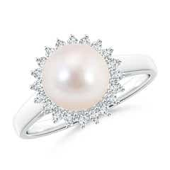 Ball Shaped Akoya Cultured Pearl Vintage Ring with Diamond Halo