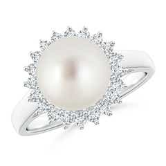 Angara South Sea Cultured Pearl Ring with Floral Diamond Halo vFp7V4nT