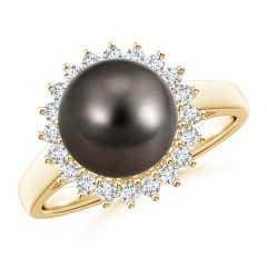Tahitian Cultured Pearl and Diamond Floral Halo Ring