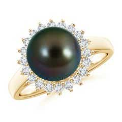 Tahitian Cultured Pearl Ring with Floral Halo