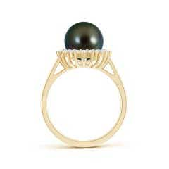Angara Tahitian Cultured Pearl Ring with Floral Halo EJEwLVy9Y