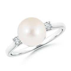 Angara Freshwater Cultured Pearl XO Ring with Diamonds cdXhsI