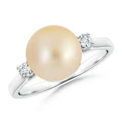 Golden South Sea Cultured Pearl Ring with Diamond Accents
