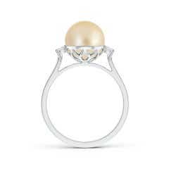 Toggle Golden South Sea Cultured Pearl Ring with Diamond Accents