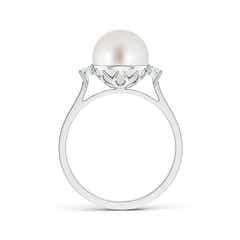 Ball Shaped Akoya Cultured Pearl Solitaire Ring with Diamond Accents